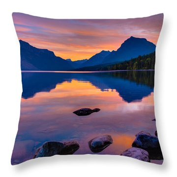 Dawn At Lake Mcdonald Throw Pillow