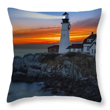 Dawn At Portalnd Head Light Throw Pillow by Susan Candelario