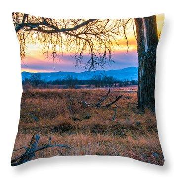 Setting Sun At Rocky Mountain Arsenal Throw Pillow