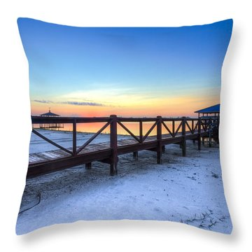 Dawn At The Dock Throw Pillow by Debra and Dave Vanderlaan