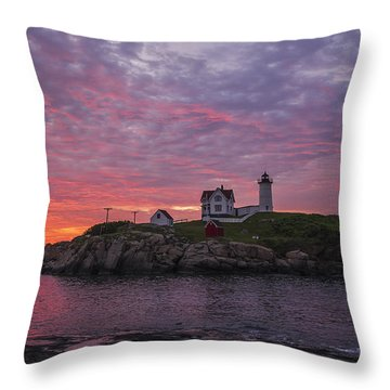 Dawn At The Nubble Throw Pillow