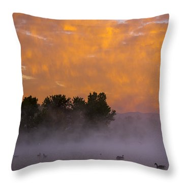 Dawn At The Sepulveda Dam Wildlife Reserve Throw Pillow