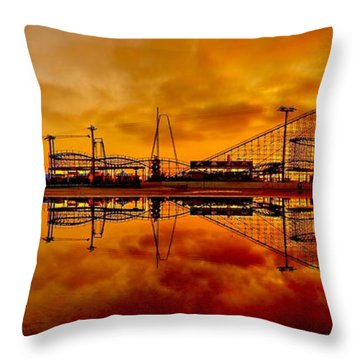 Dawn At Wildwood Pier Throw Pillow by Nick Zelinsky