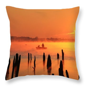 Dawn Fishing Throw Pillow