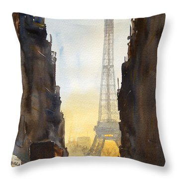 Dawn In Paris Throw Pillow by James Nyika