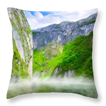 Throw Pillow featuring the photograph Dawn In The Canyon - Chiapas by Mark E Tisdale
