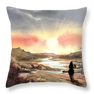 Throw Pillow featuring the painting Dawn In The Valley by Mikhail Savchenko