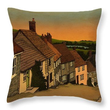 Throw Pillow featuring the drawing Daybreak by Meg Shearer