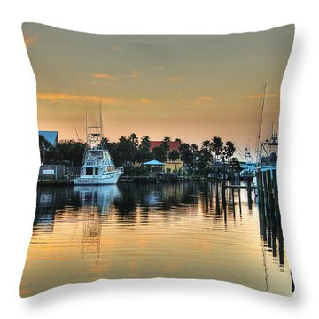 Dawn On A Orange Beach Canal Throw Pillow