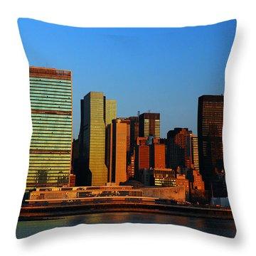 Dawn On Manhattan Throw Pillow by James Kirkikis