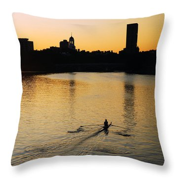 Dawn On The Charles Throw Pillow by James Kirkikis