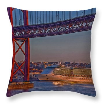 Throw Pillow featuring the photograph Dawn On The Harbor by Hanny Heim
