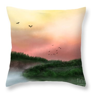Dawn On The Lake Throw Pillow by Thomas OGrady