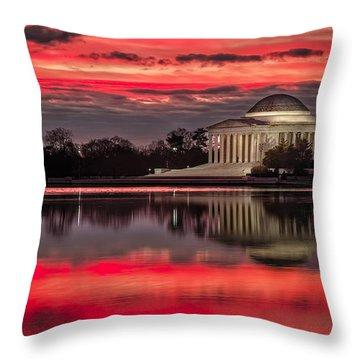 Dawn Over Jefferson Memorial Throw Pillow