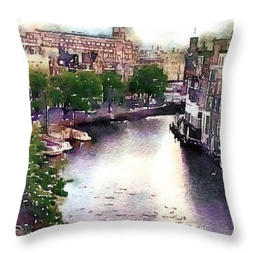 Throw Pillow featuring the photograph Dawn Rain Amsterdam by Susan Maxwell Schmidt