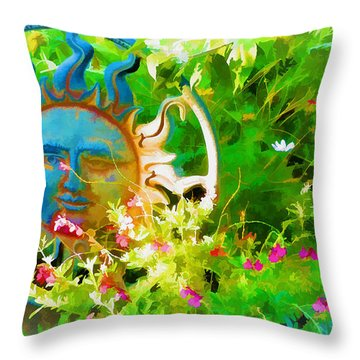Dawn Sun Across The Garden Throw Pillow