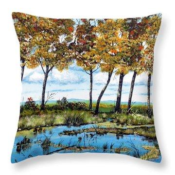 Dawn's Blue Waters Edge  Throw Pillow