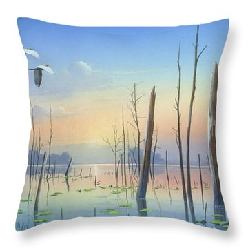 Throw Pillow featuring the painting Dawns Early Light by Mike Brown