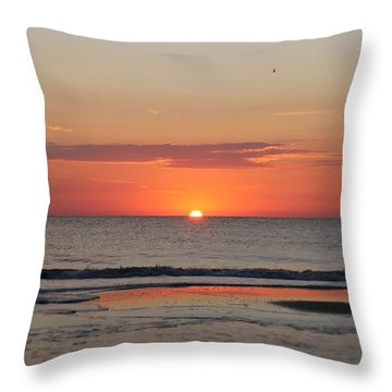 Throw Pillow featuring the photograph Dawn's Orange Hues by Robert Banach