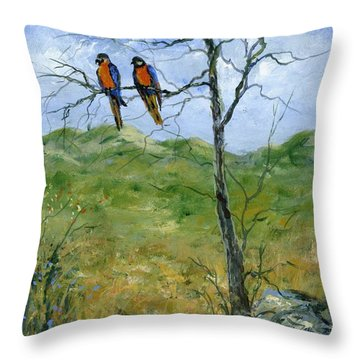 Macaws In A Landscape Throw Pillow