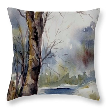 Misty Winter Wood Throw Pillow