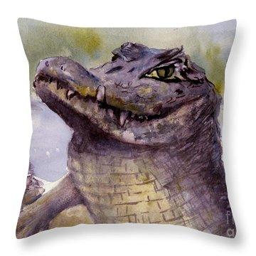 Caiman Crocodile  Throw Pillow