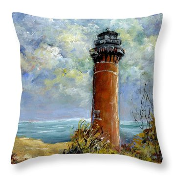 Little Au Sable Point Lighthouse Michigan Throw Pillow