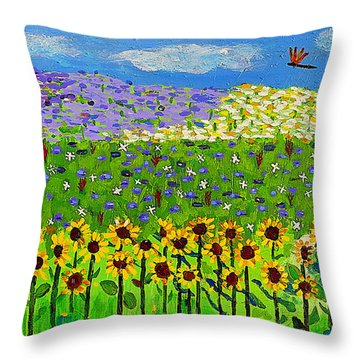 Day And Night In A Sunflower Field I  Throw Pillow