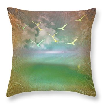 Day At The Beach Abstract Throw Pillow by Judy Palkimas