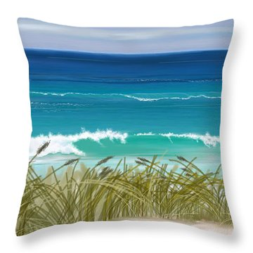 Throw Pillow featuring the digital art Day At The Beach by Anthony Fishburne