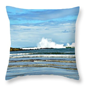 Throw Pillow featuring the photograph Day At The Beach by Mindy Bench