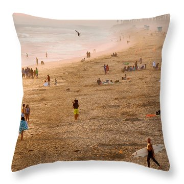 Day At The Beach - Sunset Huntington Beach California Throw Pillow
