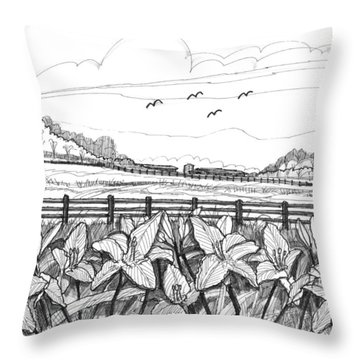 Day Lilies At Northwind Farms Throw Pillow