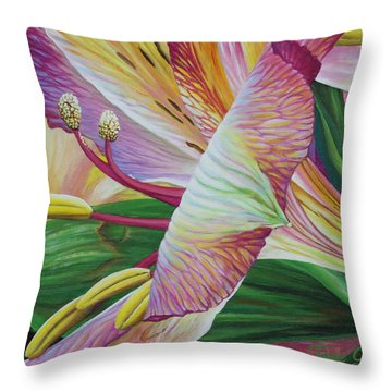 Throw Pillow featuring the painting Day Lilies by Jane Girardot