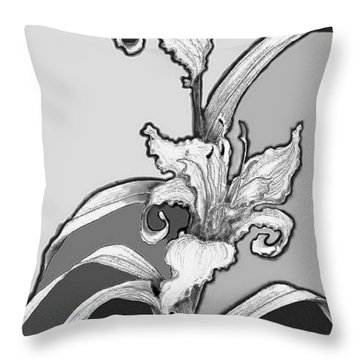 Throw Pillow featuring the digital art Day Lillies by Carol Jacobs