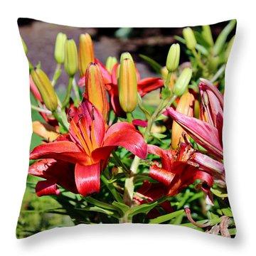 Day Lillies In The Garden Throw Pillow