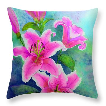 Day Lily Delight Throw Pillow by Dion Dior