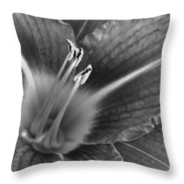 Day Lily In Black And White Throw Pillow