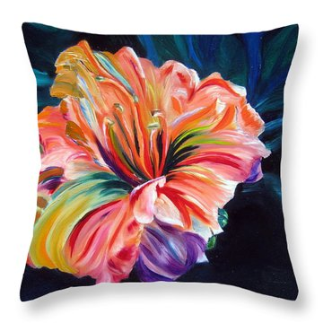 Throw Pillow featuring the painting Day Lily by LaVonne Hand