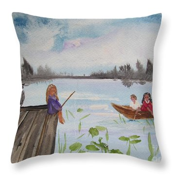 Day Of Fishing Throw Pillow