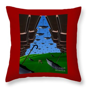 Day Of The Bumbershoots Throw Pillow by Keith Dillon