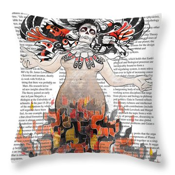 Day Of The Dead Gaia In Flames With Text Illustration Print Throw Pillow by Sassan Filsoof