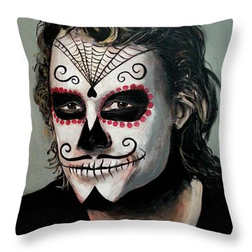 Day Of The Dead - Heath Ledger Throw Pillow by Tom Carlton