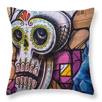 Throw Pillow featuring the mixed media Day Of The Dead Mural by Terry Rowe