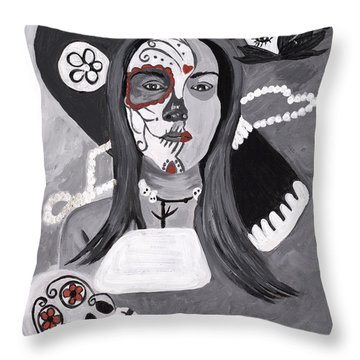 Day Of The Dead Throw Pillow by Reba Baptist