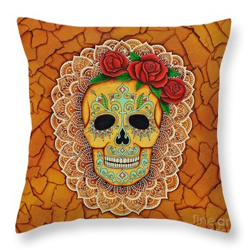 Day Of The Dead With Roses And Lace Throw Pillow by Joseph Sonday