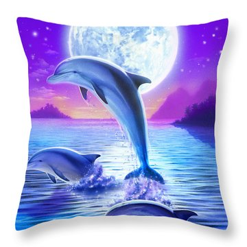 Day Of The Dolphin Throw Pillow by Robin Koni