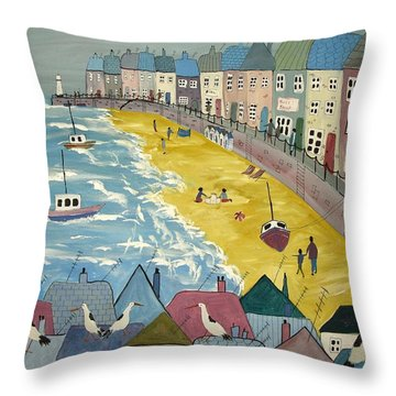 Day On The Beach Throw Pillow by Trudy Kepke