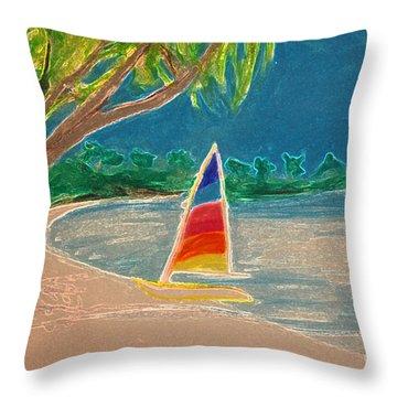 Day Sailer Throw Pillow by First Star Art