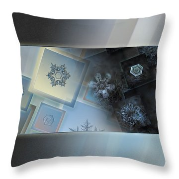 Snowflake Collage - Daybreak Throw Pillow